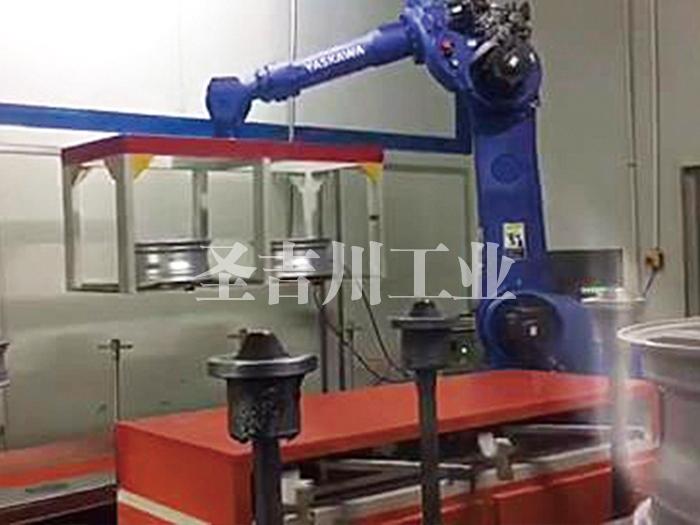 铝轮毂底漆后待烘干机器人转线机构