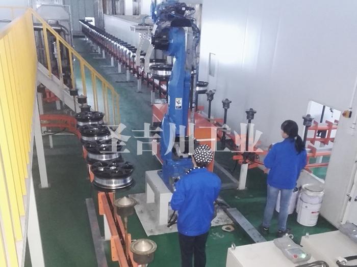 张家港铝轮毂底粉固化后机器人转线机构