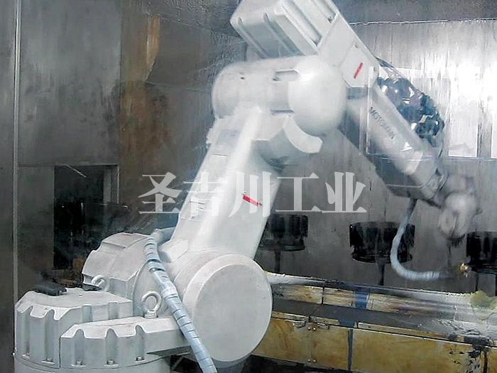 电子、家电类部件自动旋转机器人喷漆线